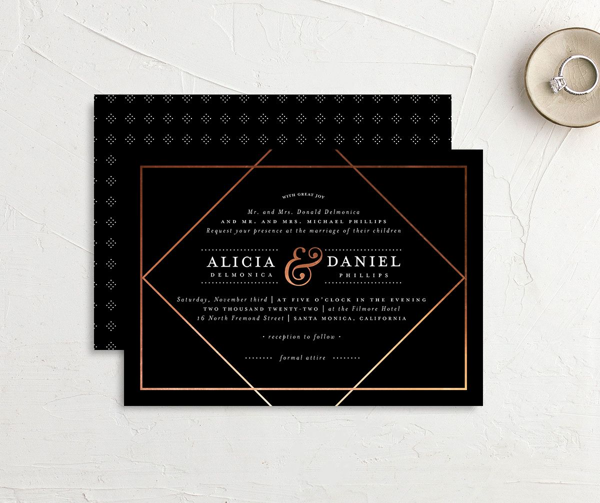 Formal Ampersand Wedding Invitation front and back black