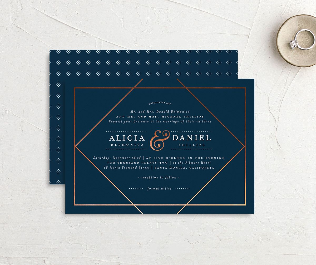 Formal Ampersand Wedding Invitation front and back blue