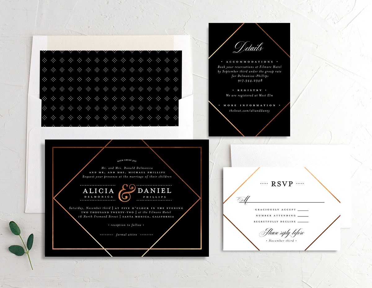 Formal Ampersand Wedding Stationery Suite black