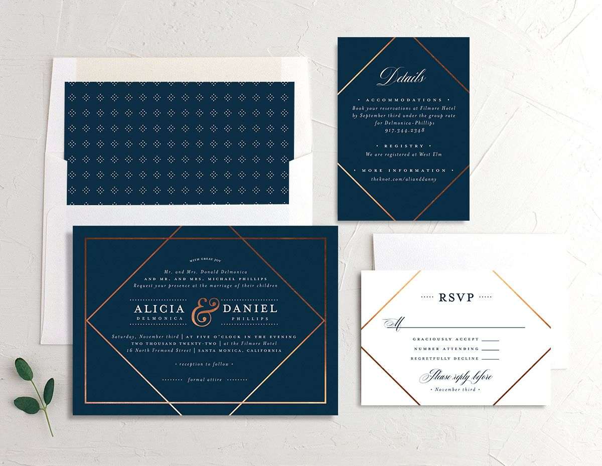 Formal Ampersand Wedding Stationery Suite blue
