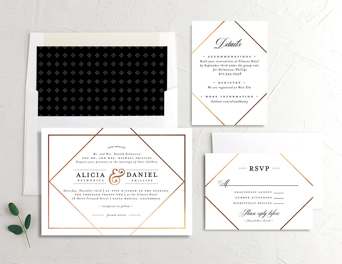 Formal Ampersand Wedding Stationery Suite white