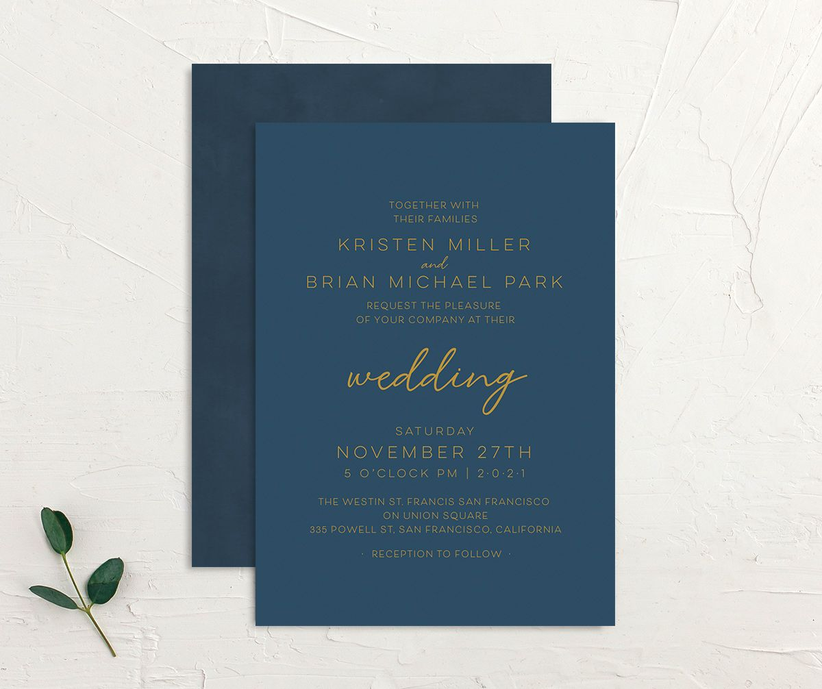 Gold Calligraphy Wedding Invitation front and back blue