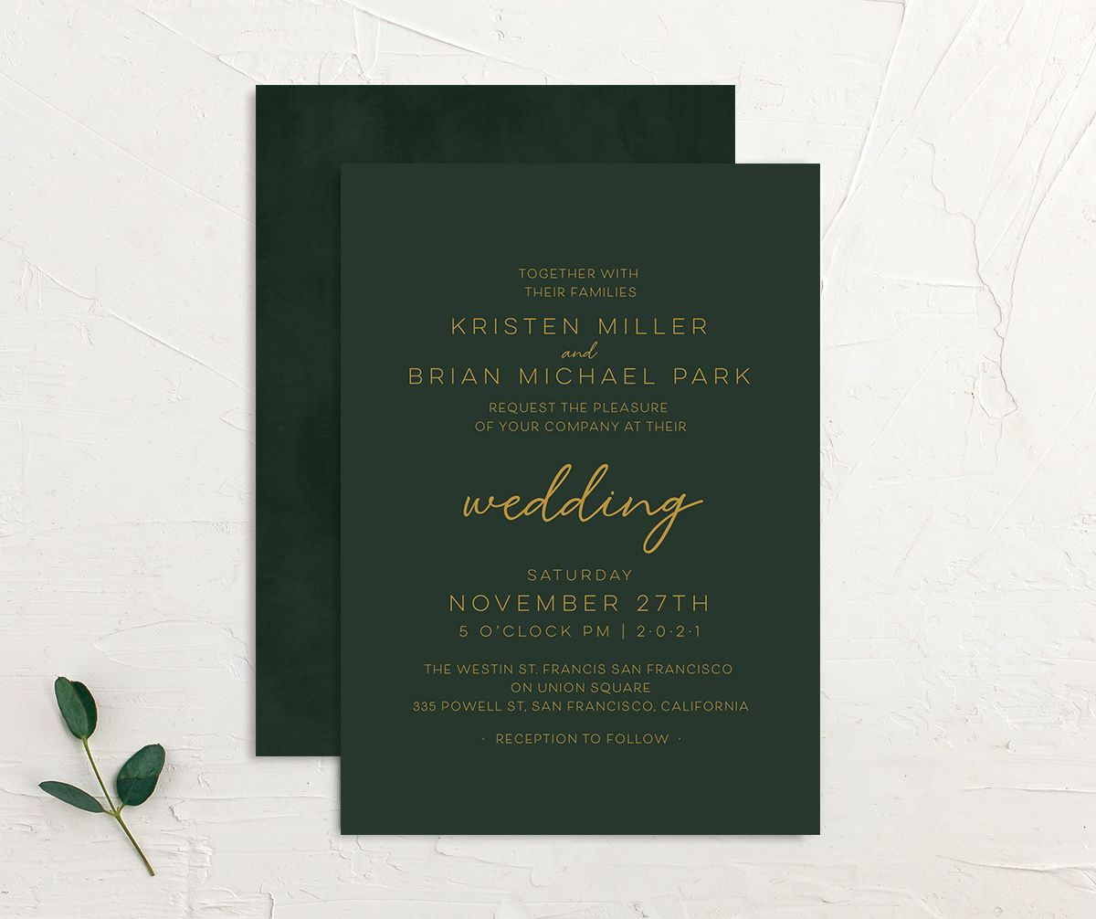 Gold Calligraphy Wedding Invitation front and back green