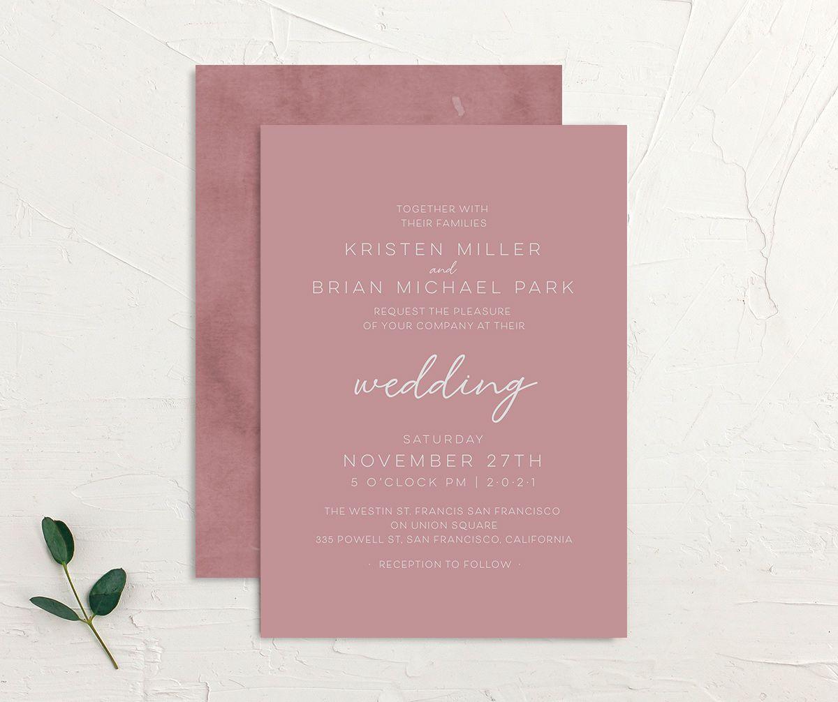 Gold Calligraphy Wedding Invitation front and back pink