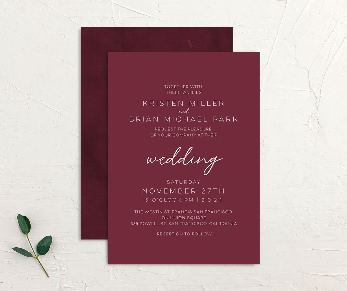 Gold Calligraphy Wedding Invitation front and back red