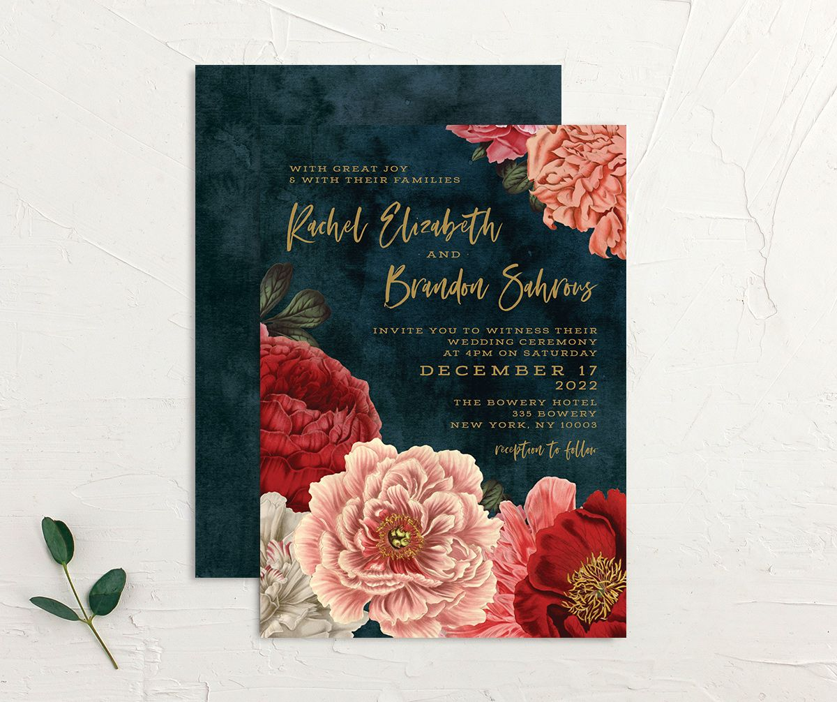 Midnight Peony Wedding Invitation front and back