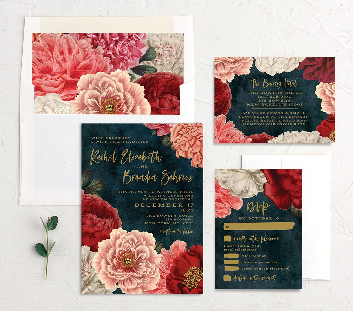 Midnight Peony Wedding Stationery suite