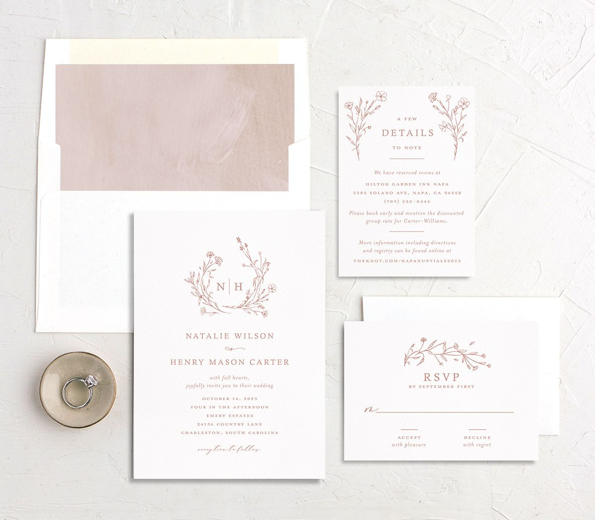 Natural Monogram Wedding Stationery Suite Pink