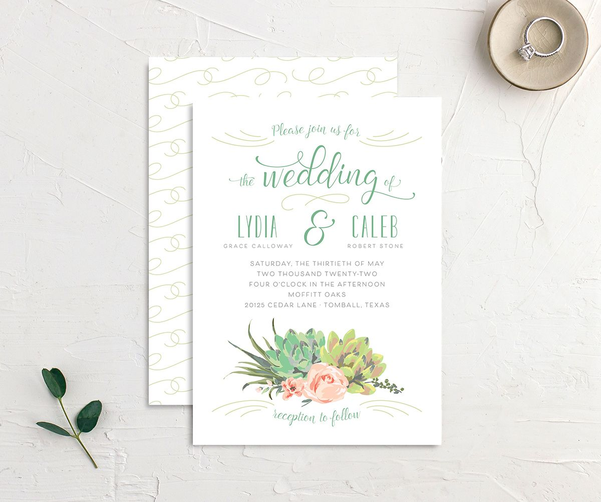 Romantic Succulents wedding invitation front and back green