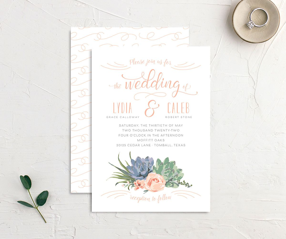 Romantic Succulents wedding invitation front and back pink