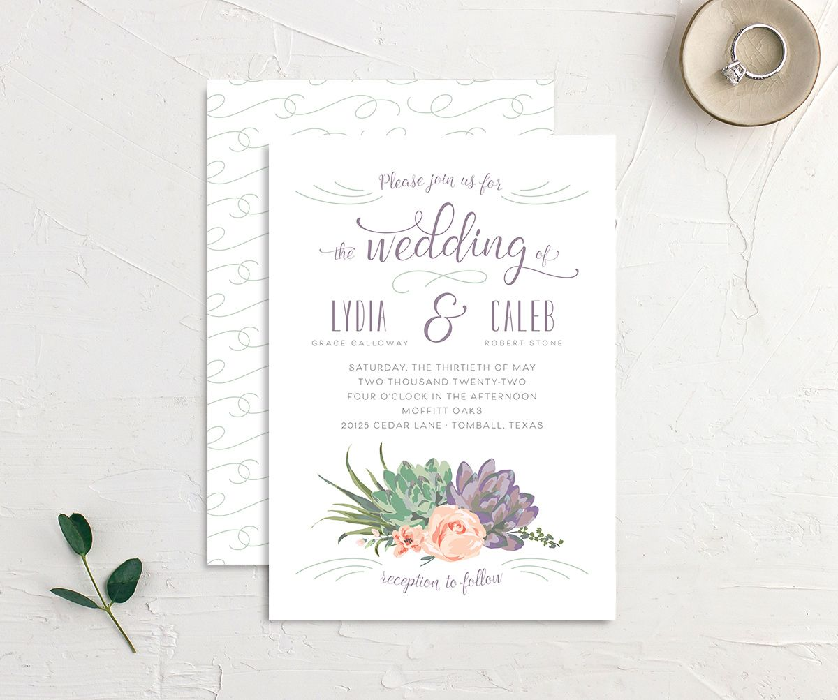 Romantic Succulents wedding invitation front and back purple
