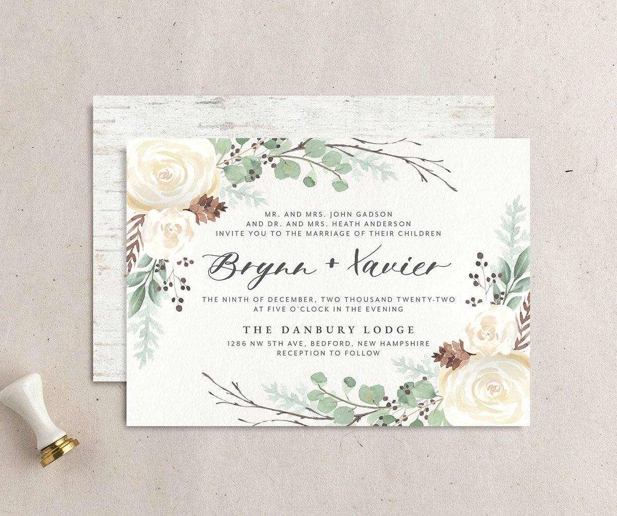 Rustic Botanical Wedding Invitation front and back