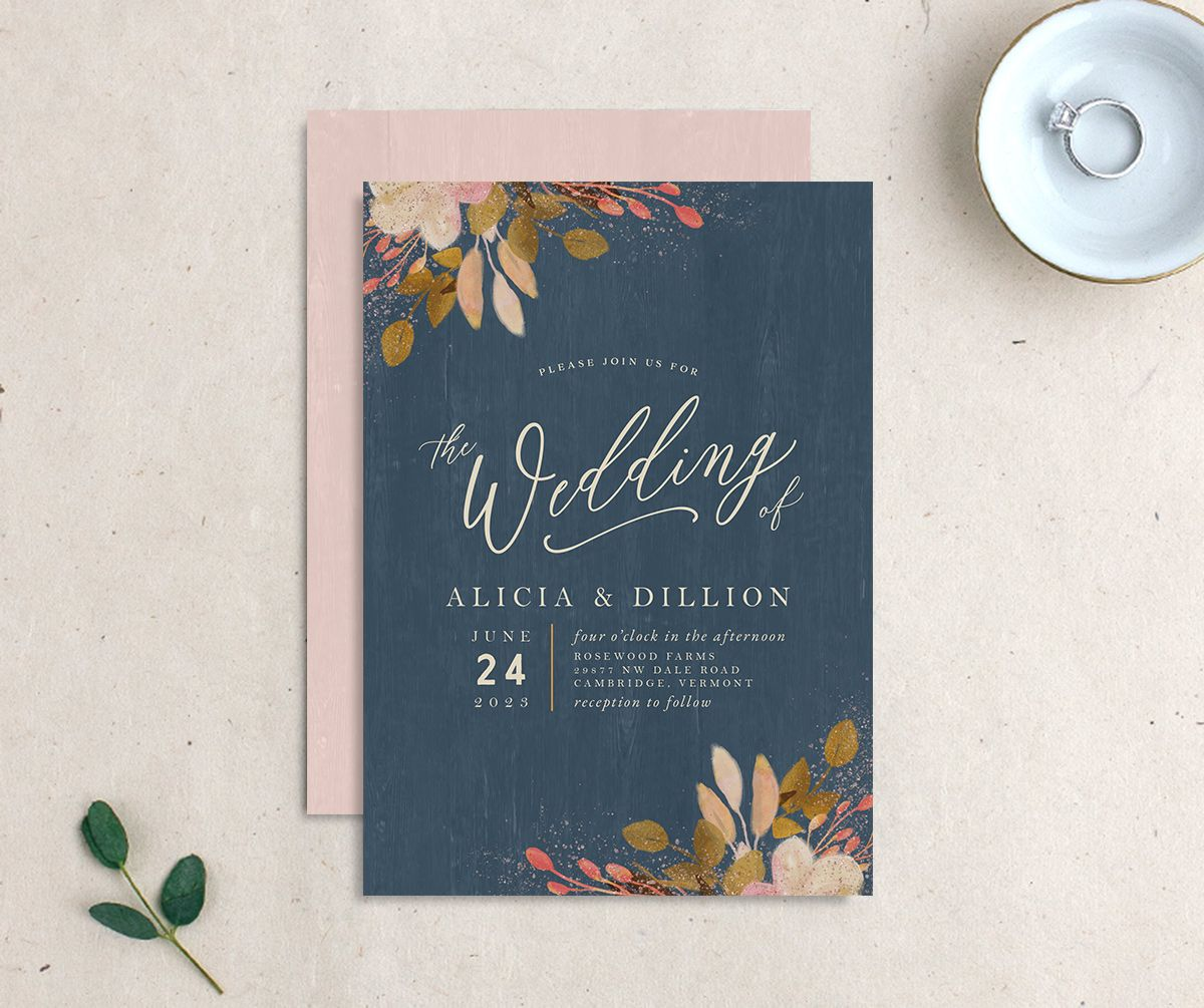 Rustic Leaves Wedding Invitation front and back