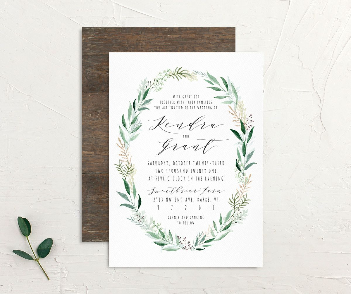 Rustic Wreath Wedding Invitation front and back