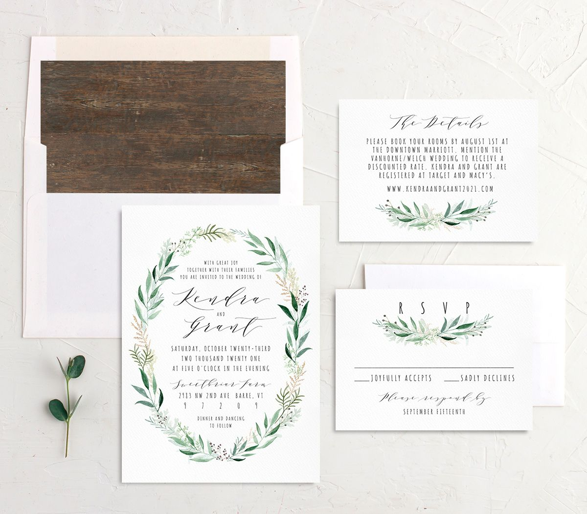 Rustic Wreath Wedding Stationery Suite