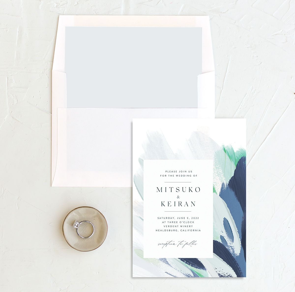 Floral Abstract Wedding invitation and envelope liner blue