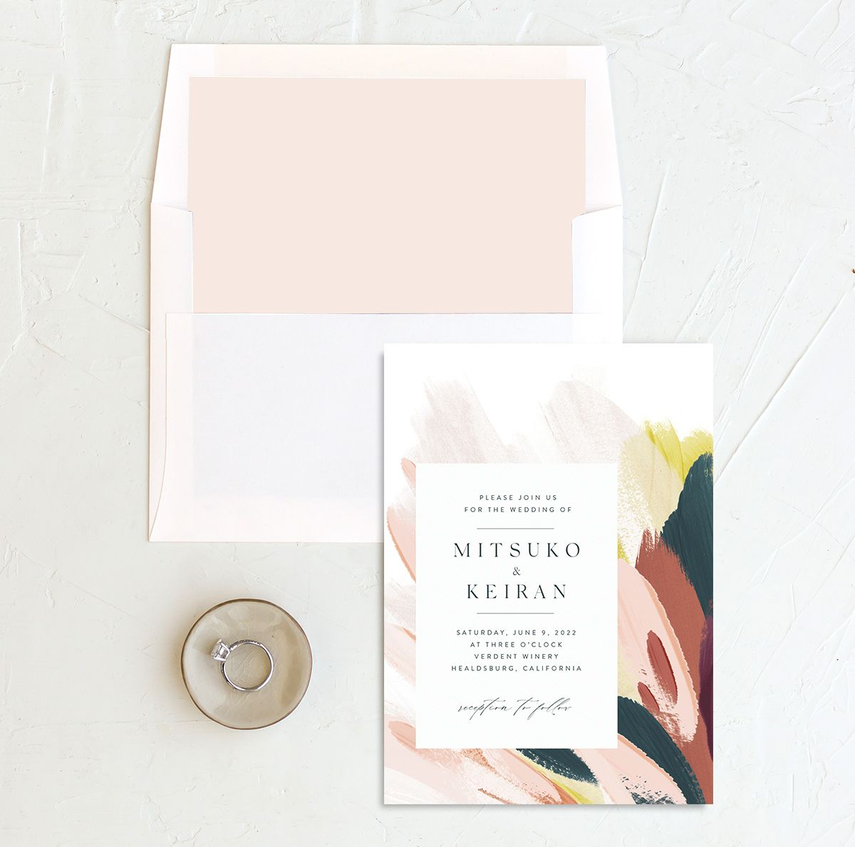 Floral Abstract Wedding invitation and envelope liner pink