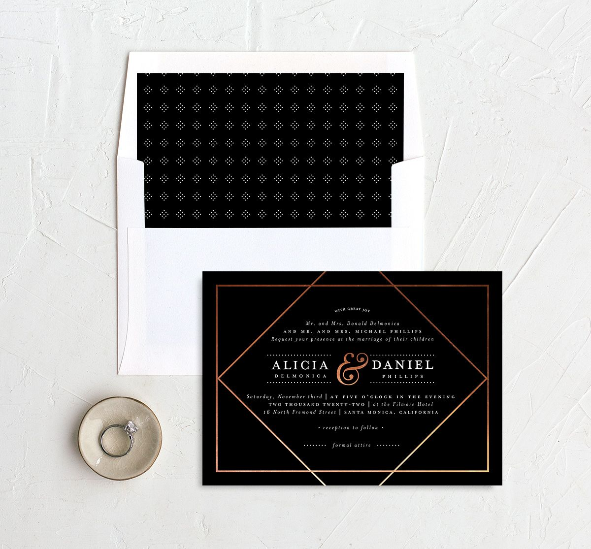 Formal Ampersand Wedding Invitation and Envelope Liner black