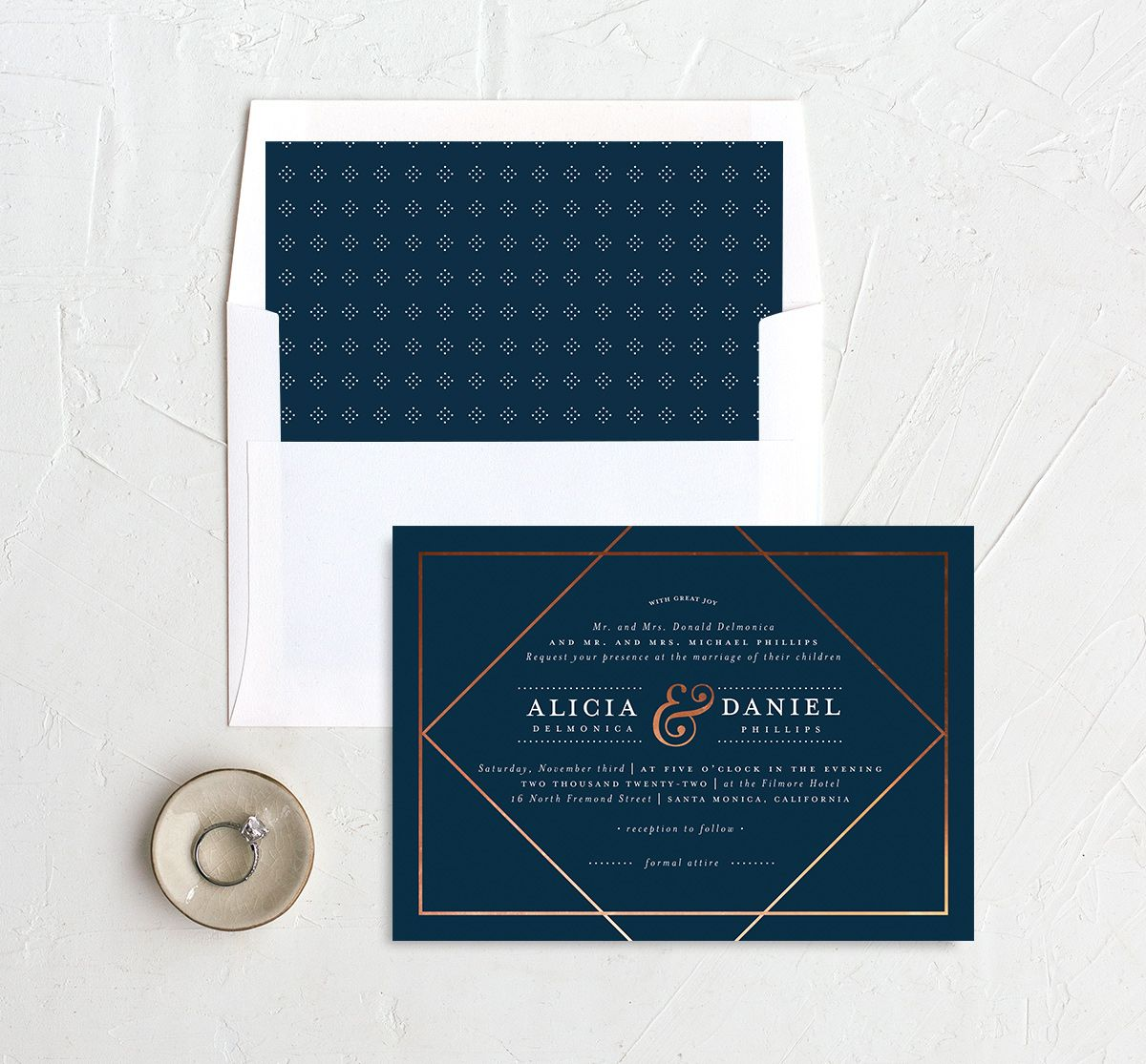 Formal Ampersand Wedding Invitation and Envelope Liner navy