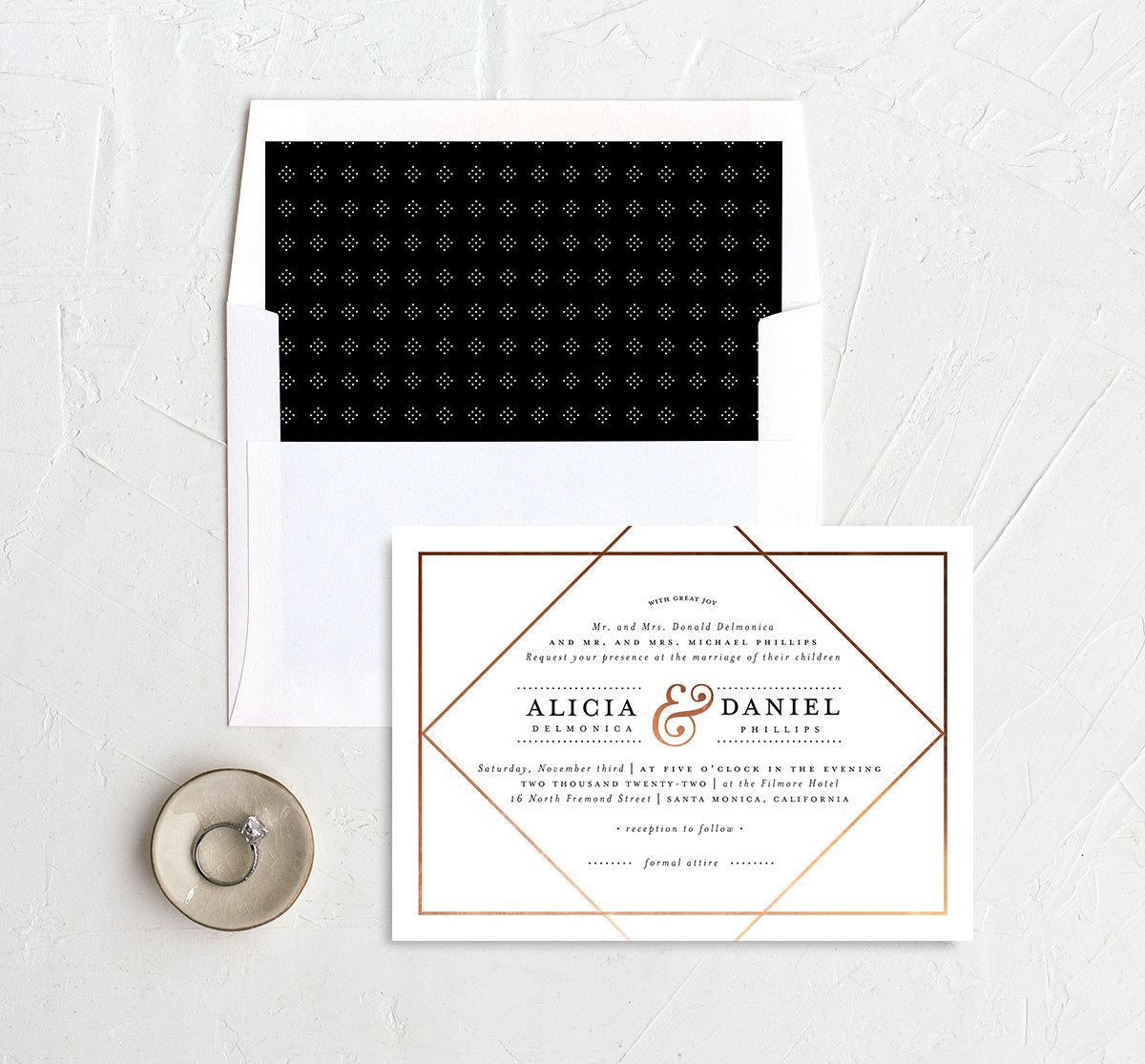 Formal Ampersand Wedding Invitation and Envelope Liner white