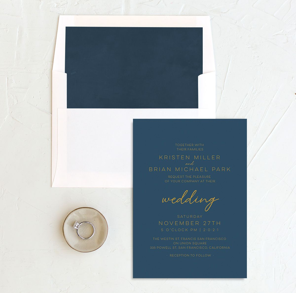 Gold Calligraphy Wedding Invitation and Envelope Liner blue