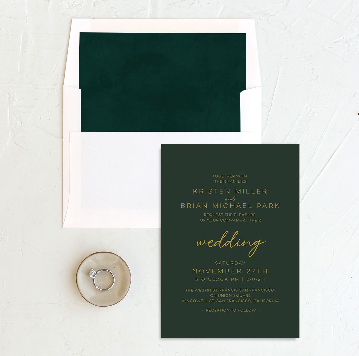 Gold Calligraphy Wedding Invitation and Envelope Liner green