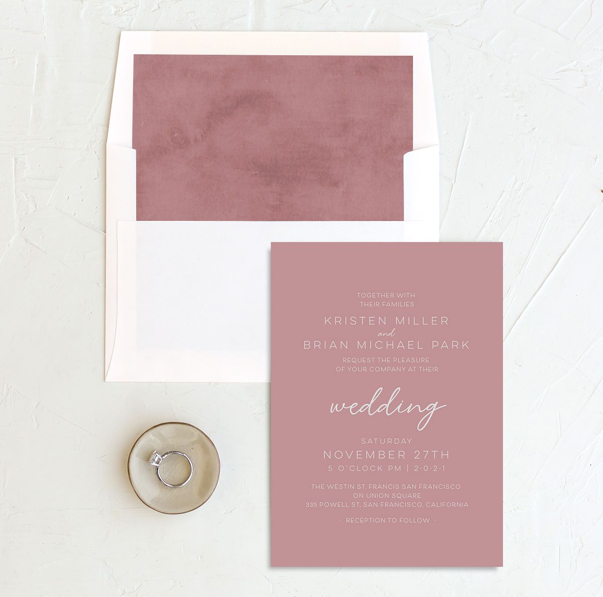 Gold Calligraphy Wedding Invitation and Envelope Liner pink