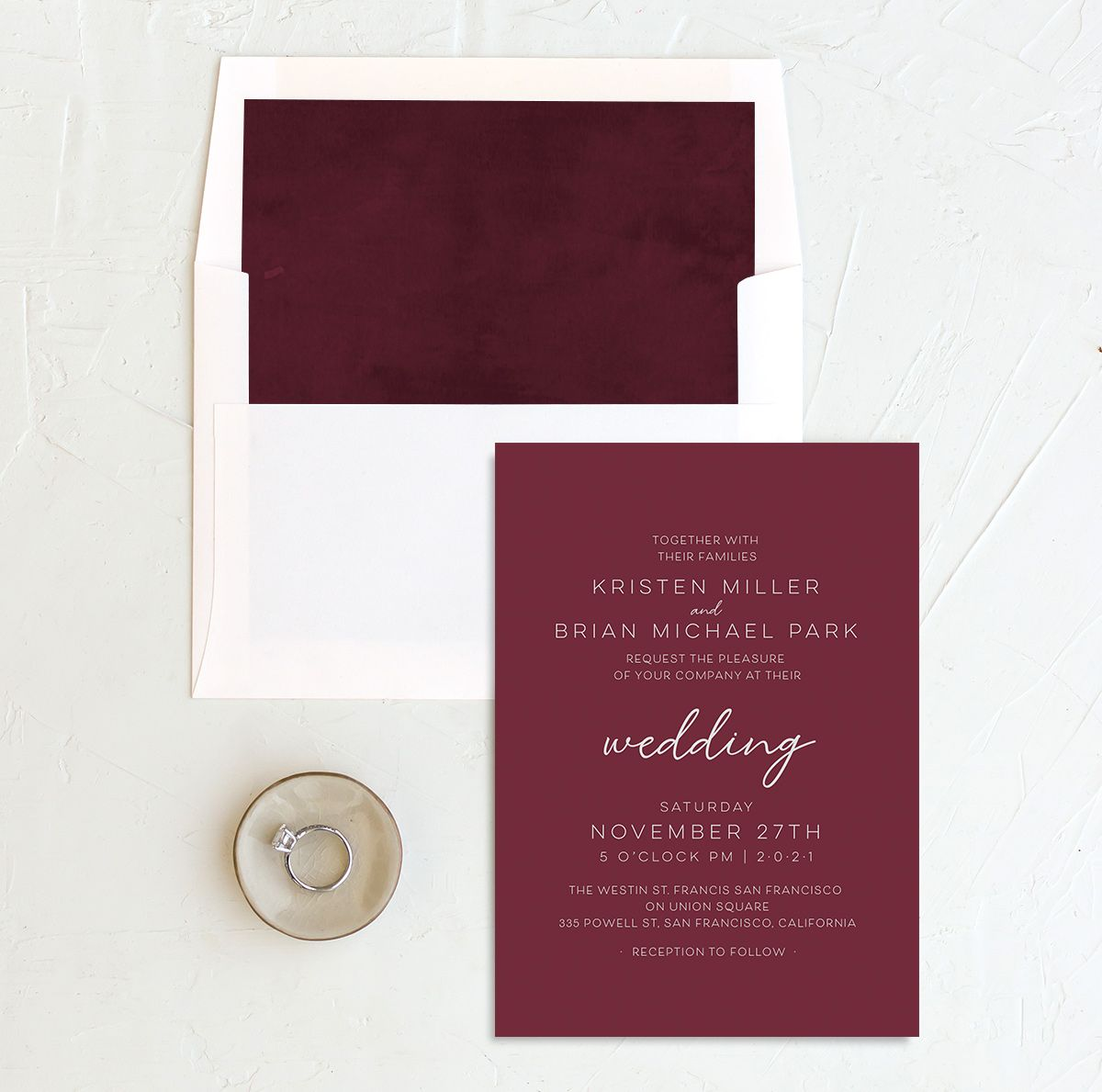 Gold Calligraphy Wedding Invitation and Envelope Liner red