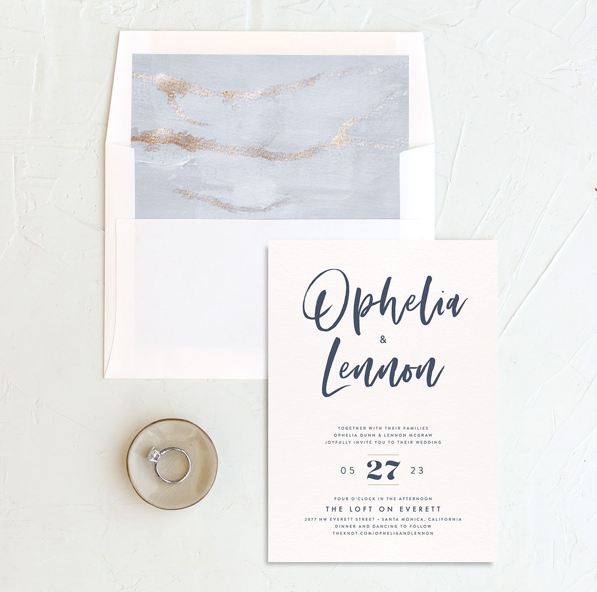 Modern Luxe Wedding Invitation and Envelope Liner blue