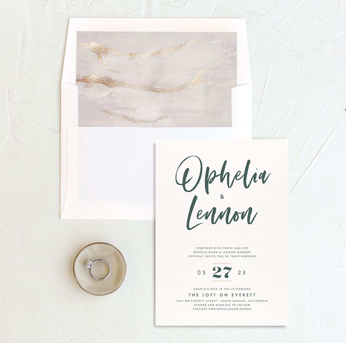 Modern Luxe Wedding Invitation and Envelope Liner green