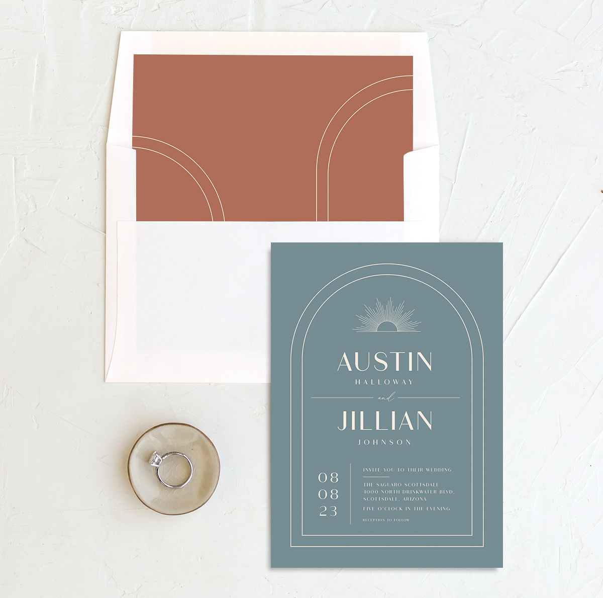 Modern Romantic wedding invitation with liner dusty blue