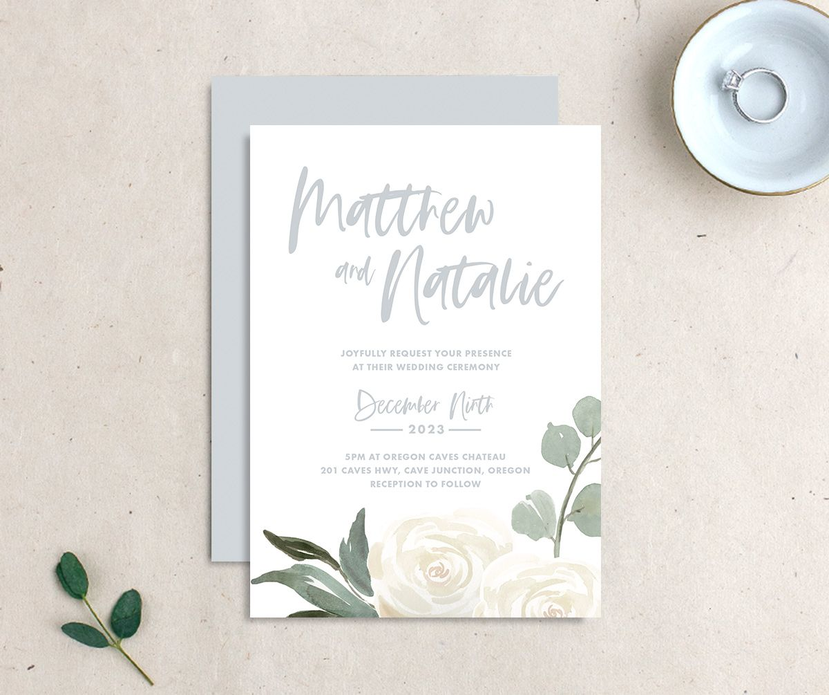 Wintry Floral Wedding Invitation front and back white