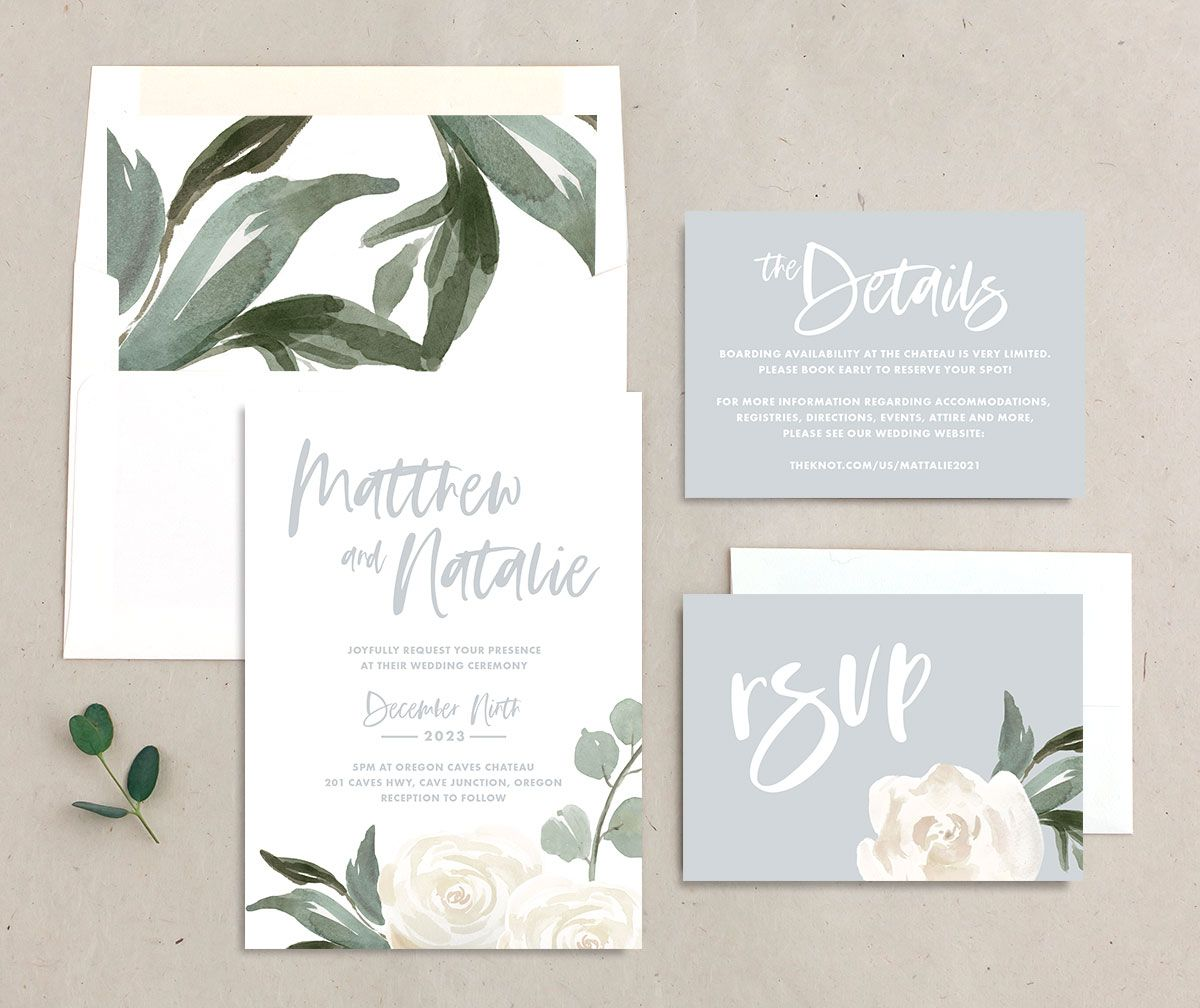 Wintry Floral Wedding Suite white