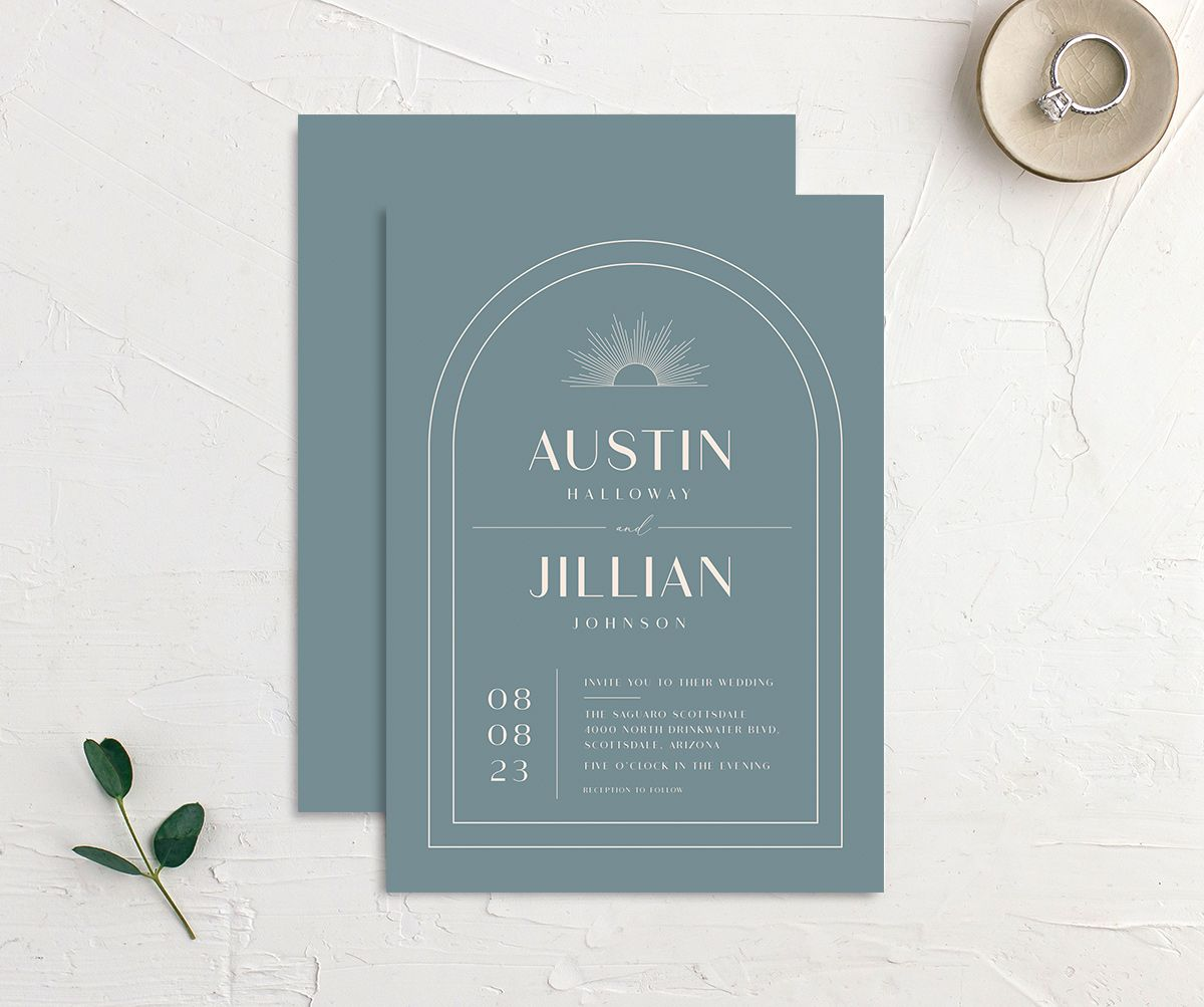 Modern Romantic wedding invitation front and back dusty blue