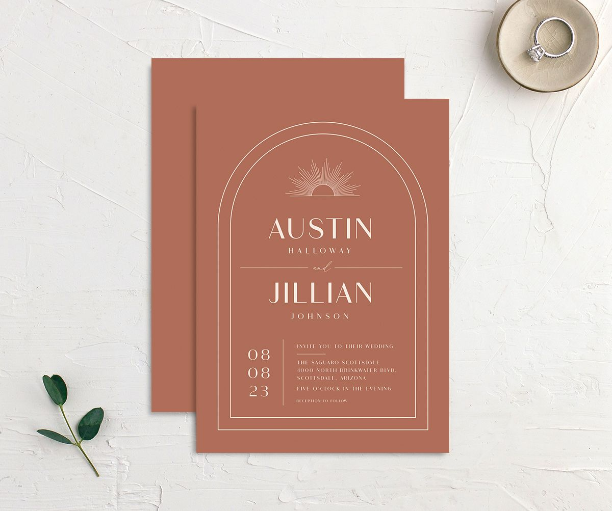 Modern Romantic wedding invitation front and back terra cotta