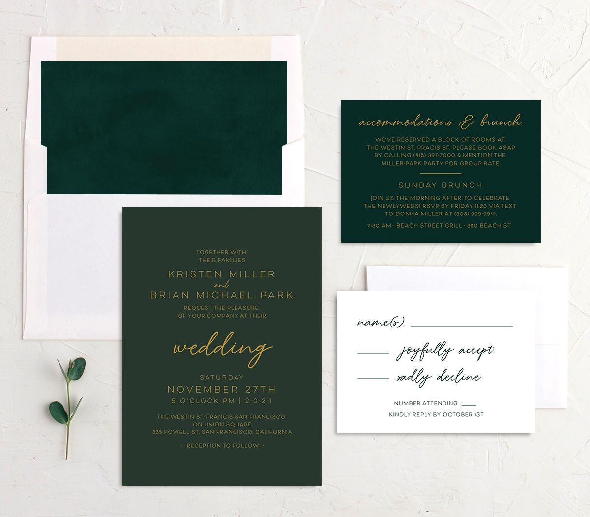 Gold Calligraphy Wedding Stationery Suite green