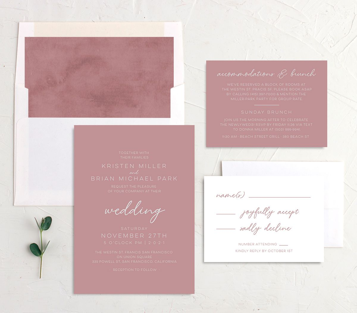 Gold Calligraphy Wedding Stationery Suite pink