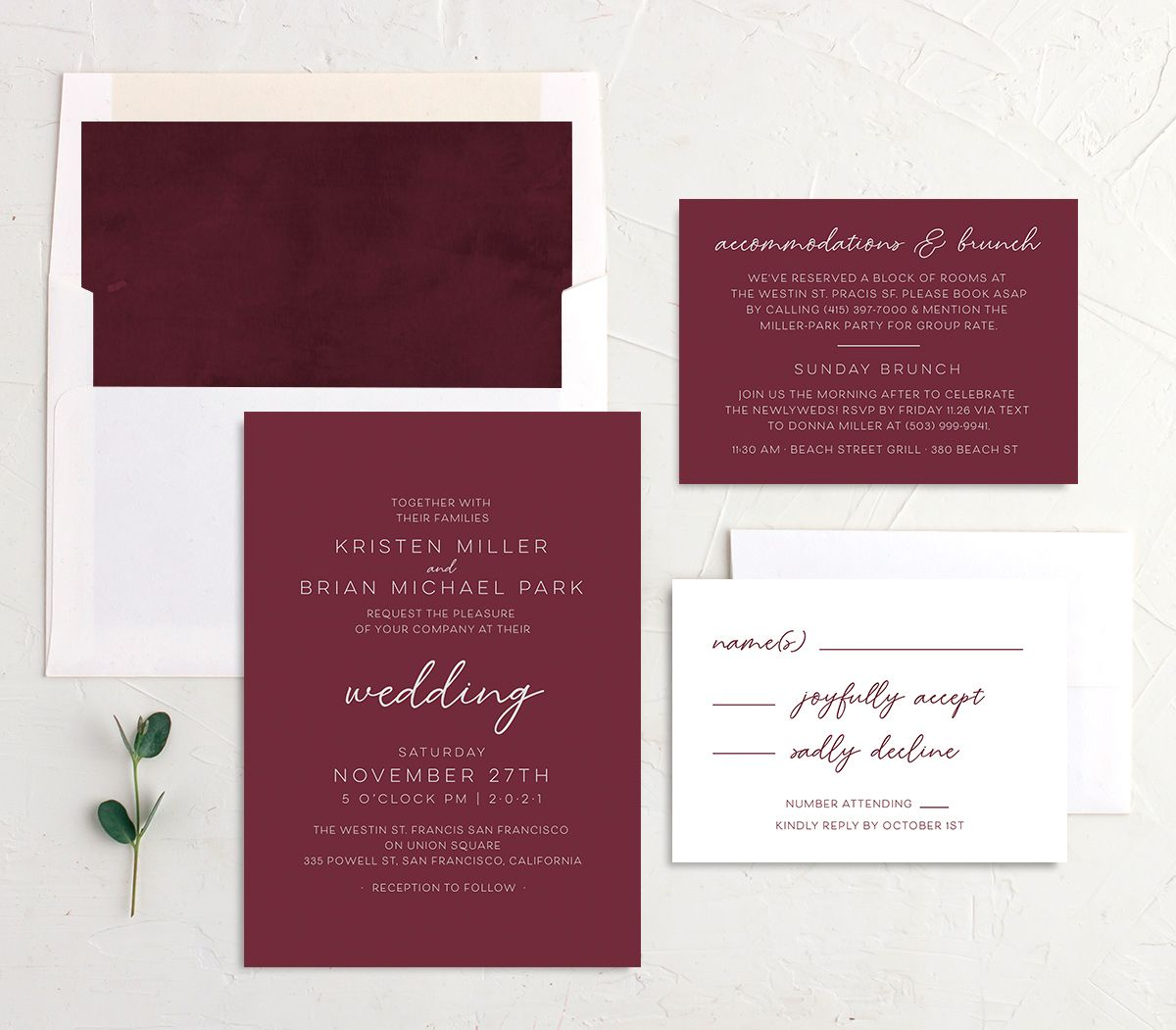 Gold Calligraphy Wedding Stationery Suite red