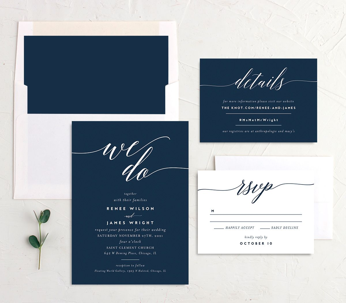 We Do Wedding Stationery Suite blue
