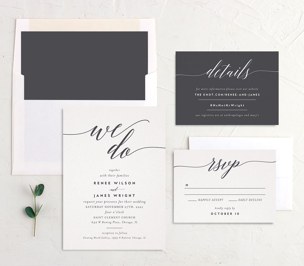 We Do Wedding Stationery Suite grey