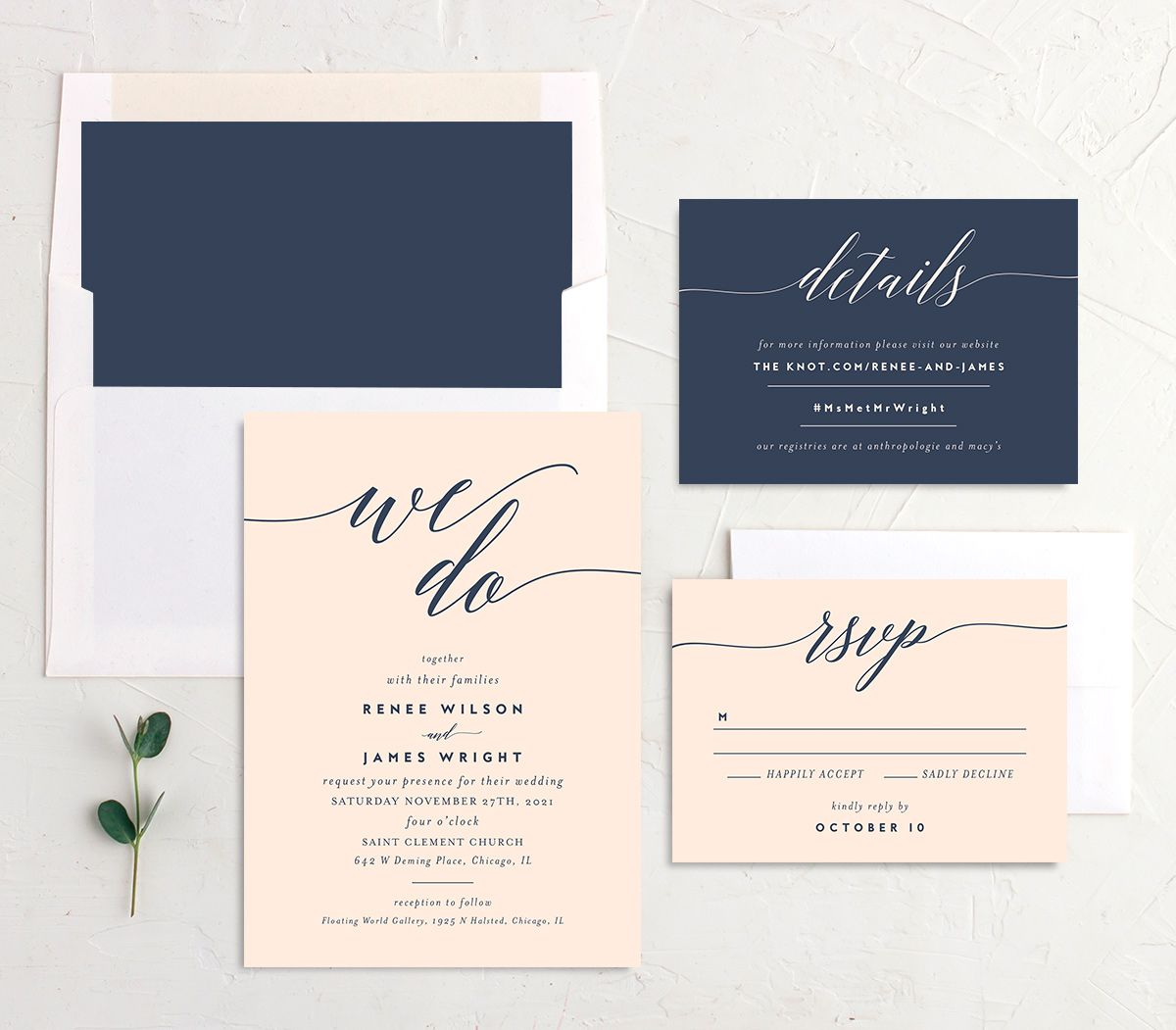 We Do Wedding Stationery Suite pink