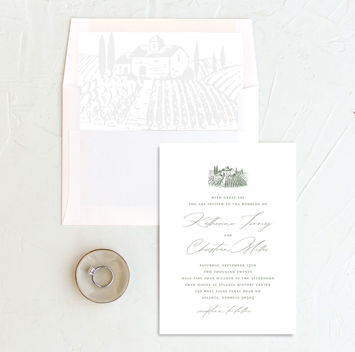 Classic Landscape Wedding Invitation and Envelope Liner green