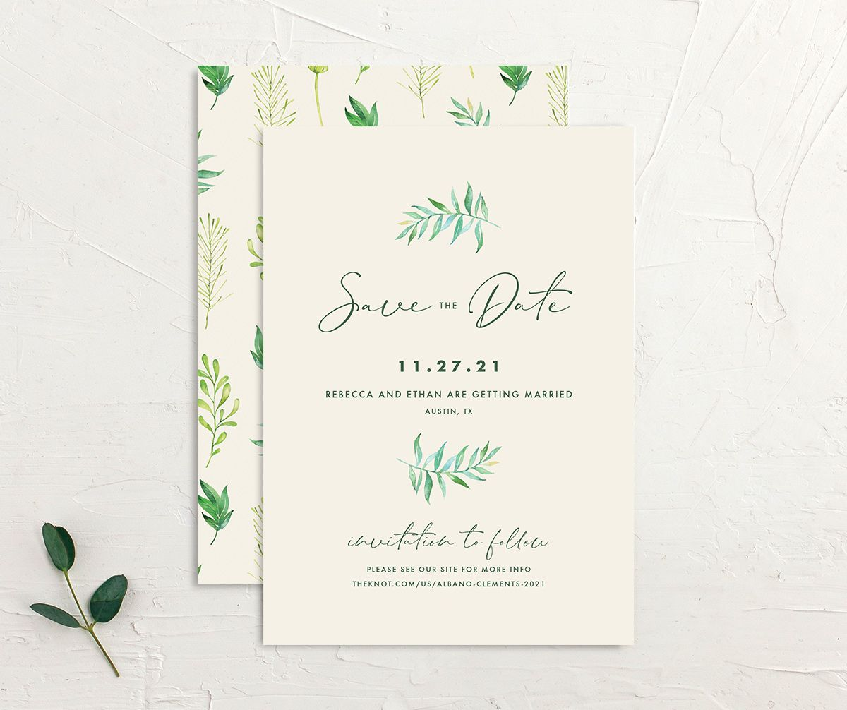 Calligraphic Botanical Save the Date front and back cream