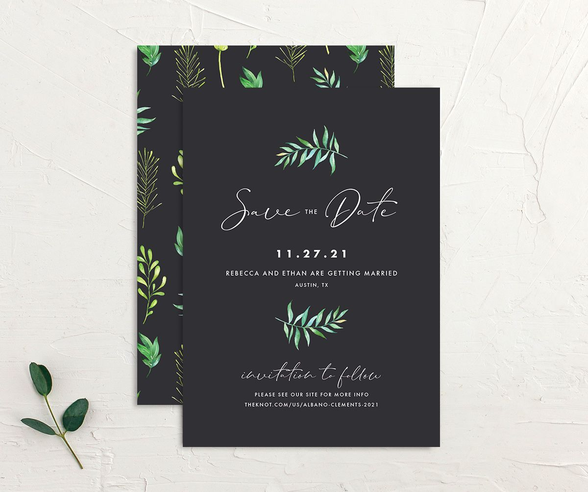 Calligraphic Botanical Save the Date front and back grey