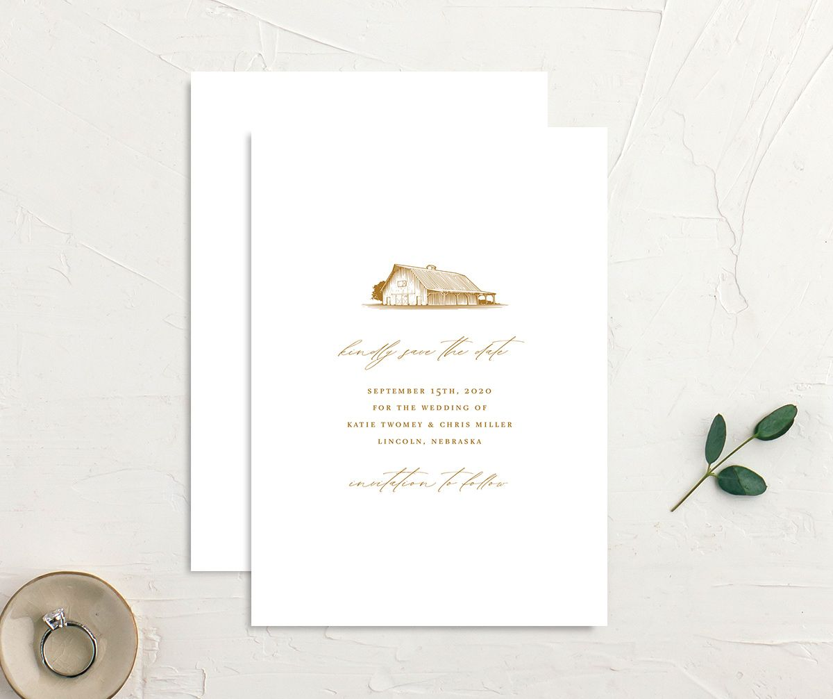 Classic Landscape Wedding Invitation front and back mustard