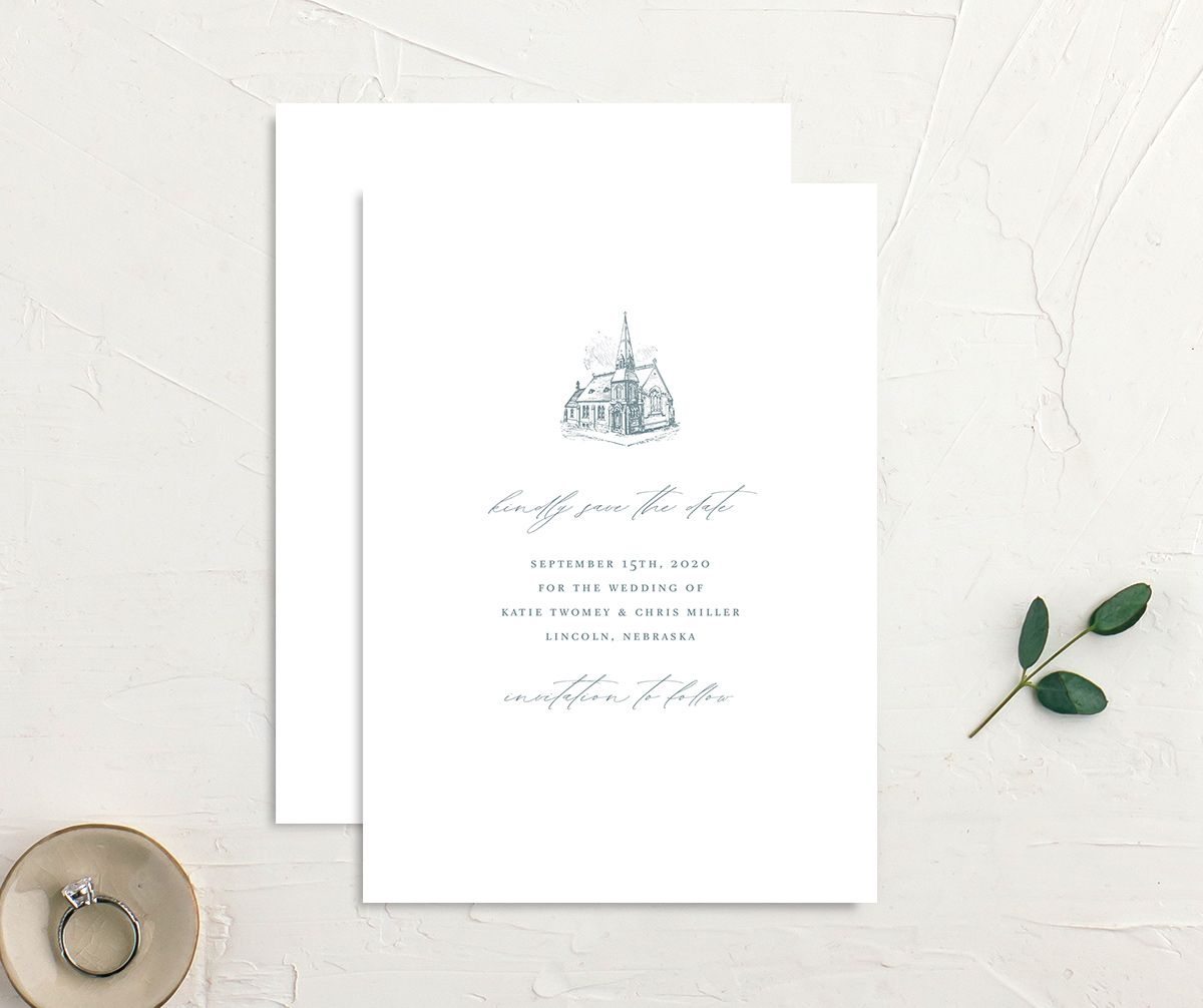 Classic Landscape Wedding Invitation front and back blue