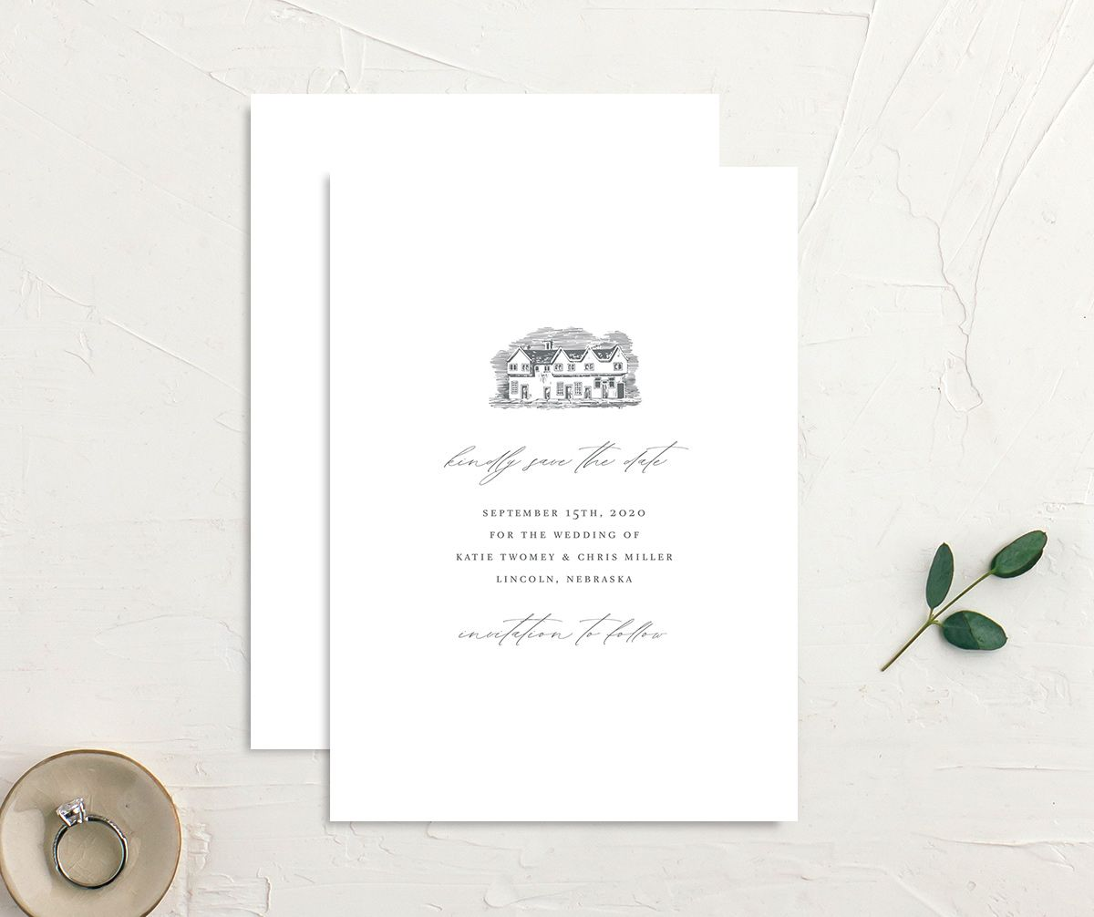 Classic Landscape Wedding Invitation front and back grey