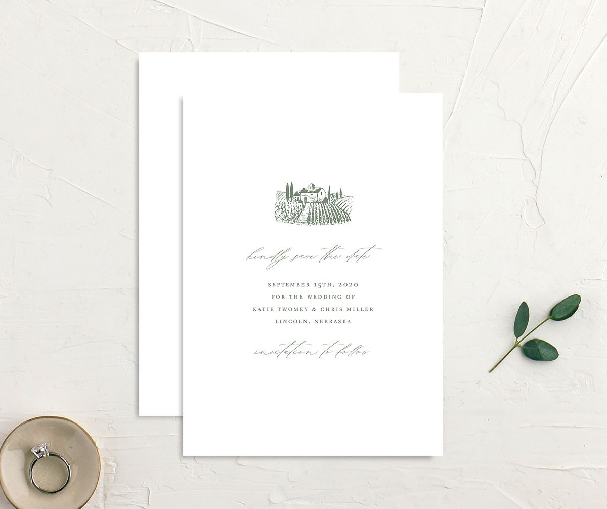 Classic Landscape Wedding Invitation front and back green