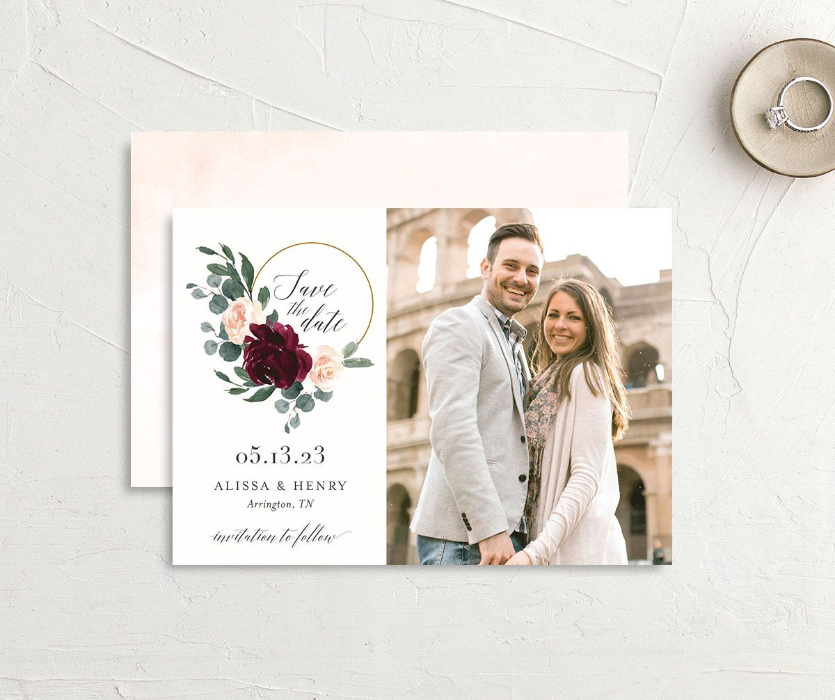 Floral Hoop Wedding Save the Date card front and back red