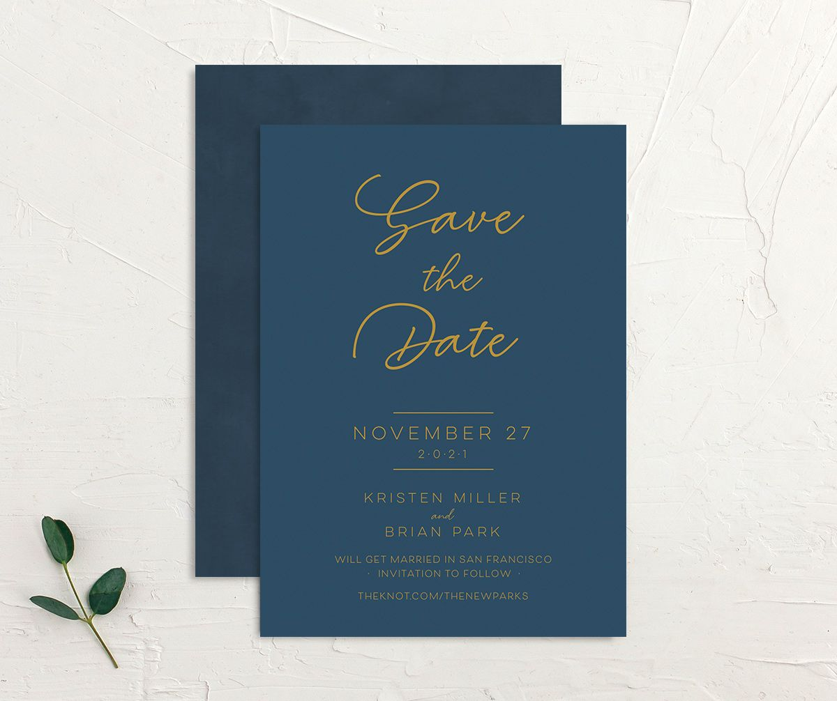 Gold Calligraphy Save the Date Card front and back blue